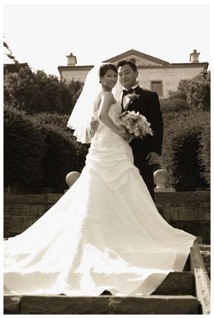 Wedding portrait in sepia tones
